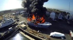 Superyacht on fire